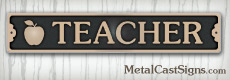 bronze teacher sign for door