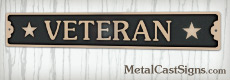 bronze Veteran sign for desk or door