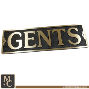 Gents cast bronze Large restroom sign - 10inch