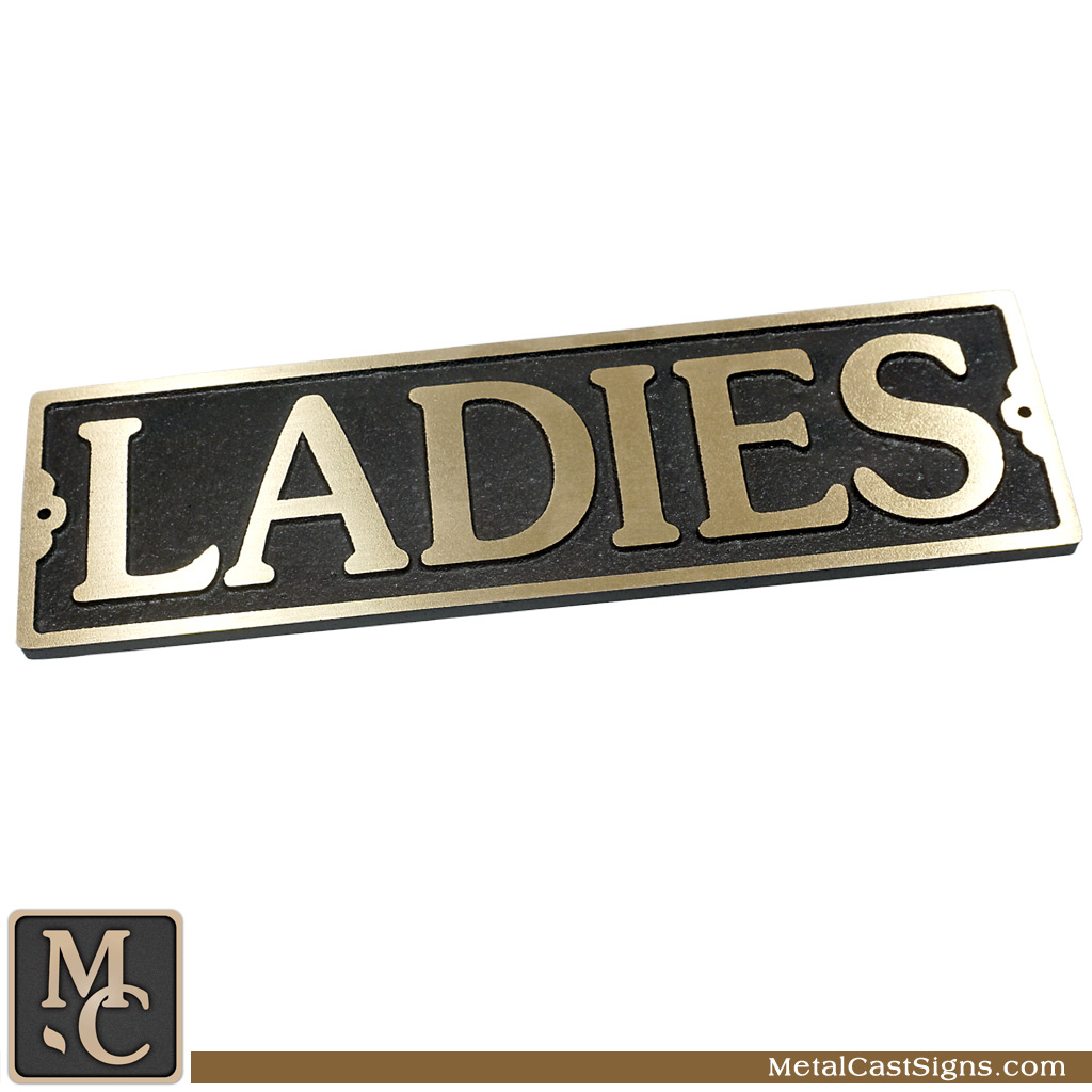 Ladies cast bronze Large restroom sign - 10inch