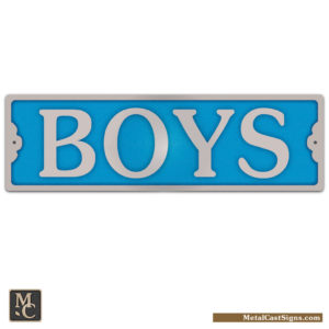 BOYS restroom sign w/blue background - 8.25inch x 2inch tall - cast aluminum