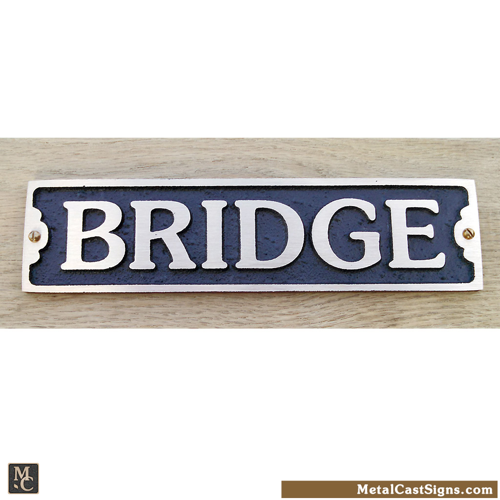 BRIDGE - 7.5inch bronze nautical sign
