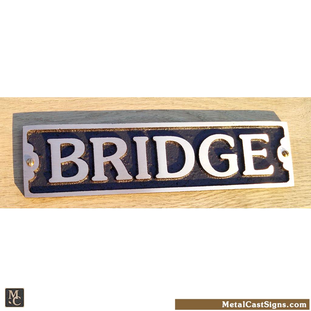 bridge 7.5in - bronze nautical sign/plaque