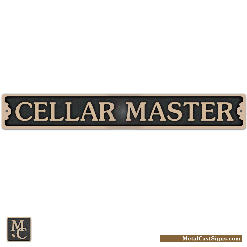 Cellar Master - bronze cast door sign
