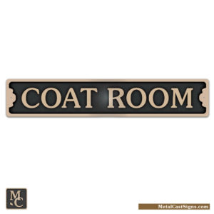 coat room door sign - cast bronze