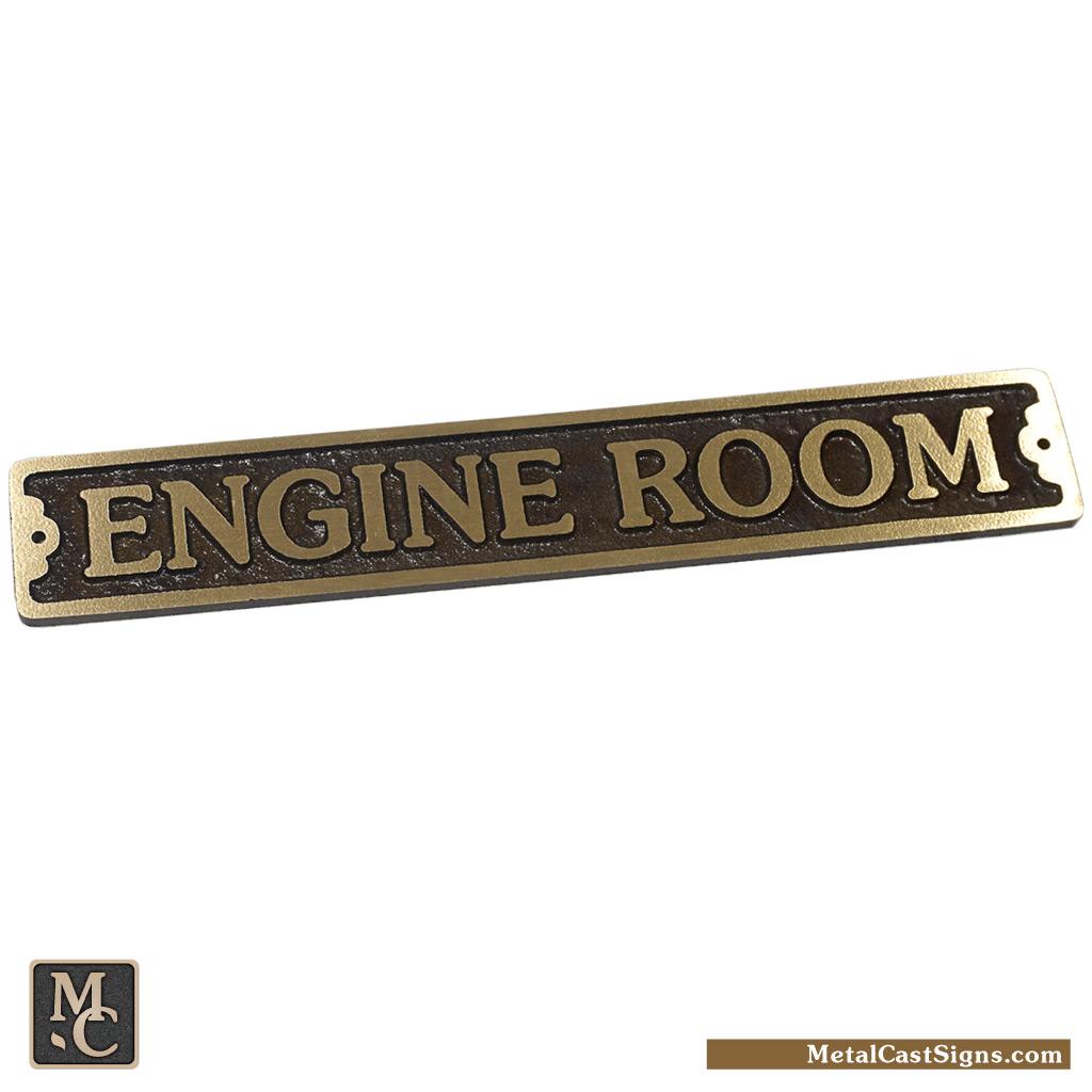 Engine Room bronze door sign - nautical