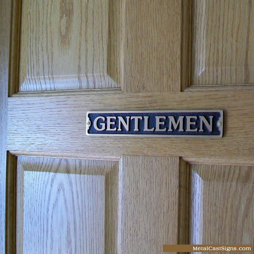 Gentlemen bronze restroom sign - mounted