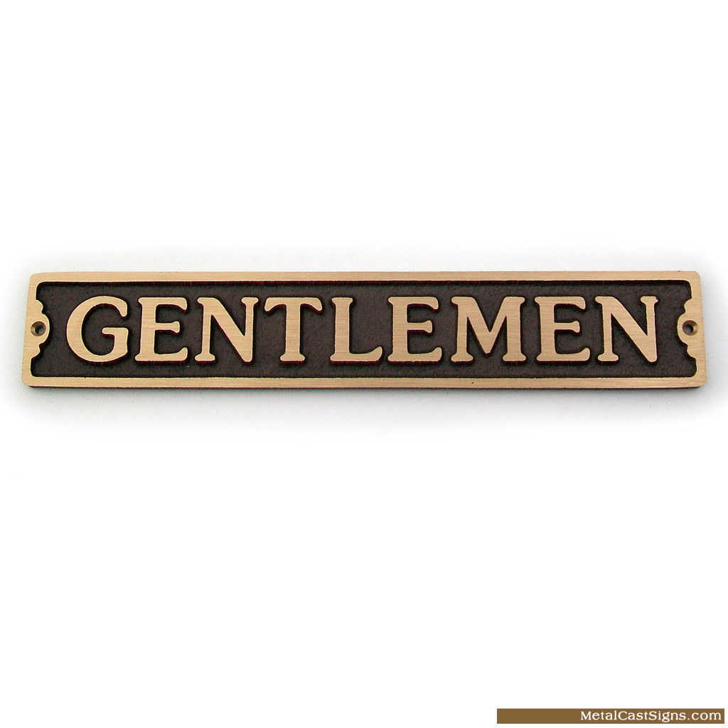 Gentlemen cast bronze elegant bathroom sign