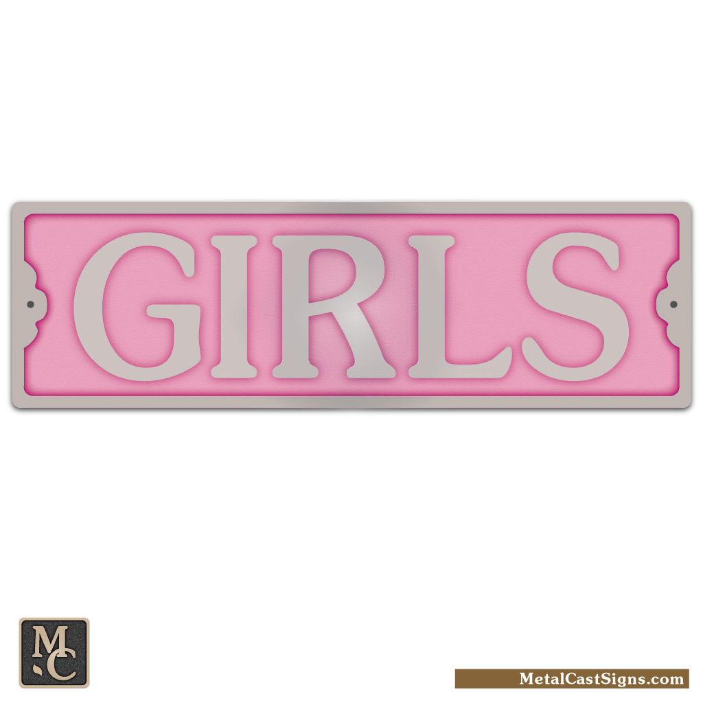 GIRLS restroom sign w/pink background - 8.25inch x 2inch tall - cast aluminum