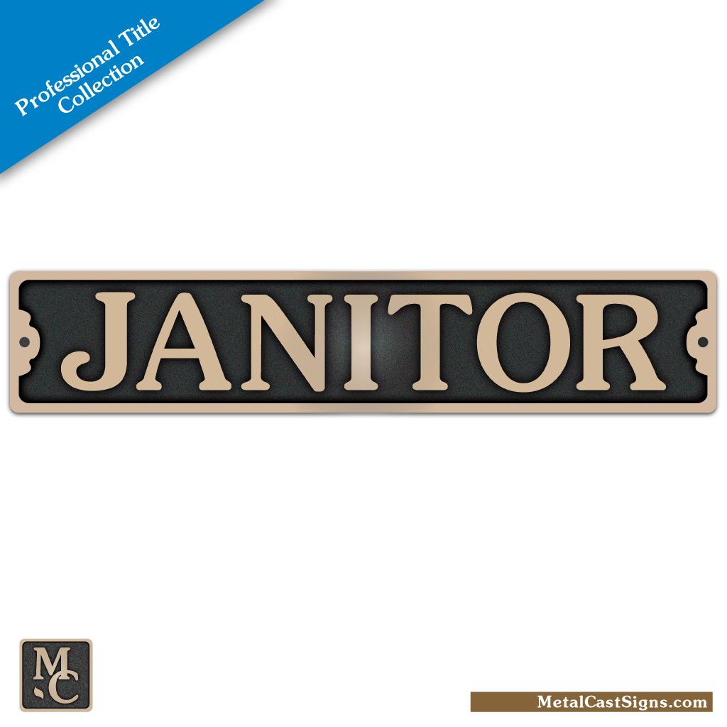 Janitor 8.75in x 1.75in plaque / door sign