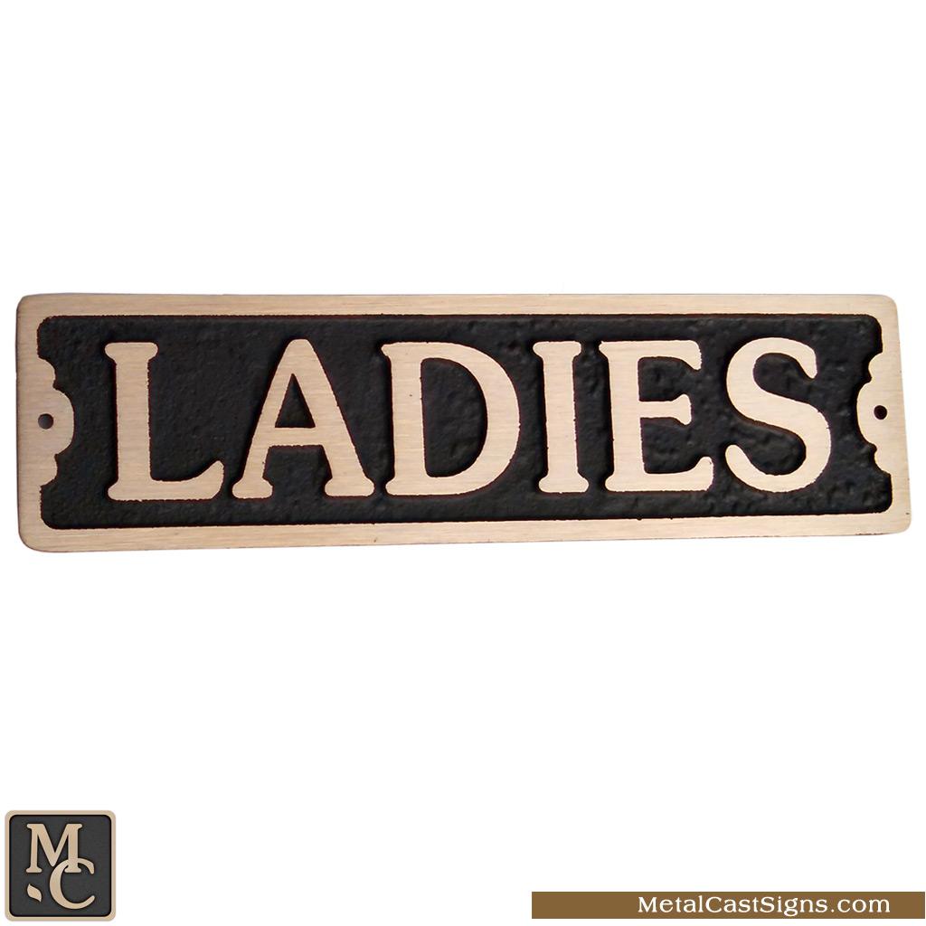 Ladies 7 5 bronze restroom sign metal cast sign co for Ladies bathroom sign