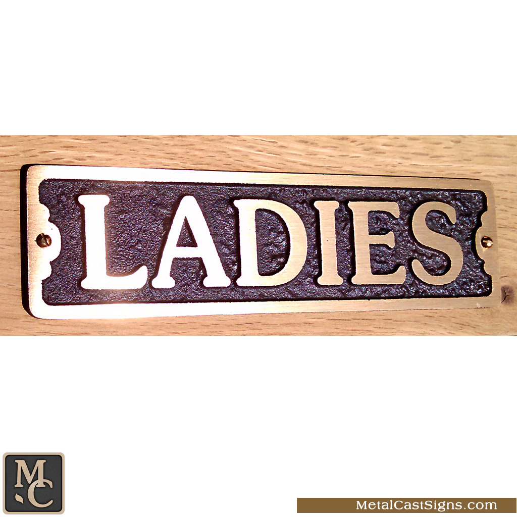 Ladies cast bronze classic restroom sign - 7.5inch x 2inch