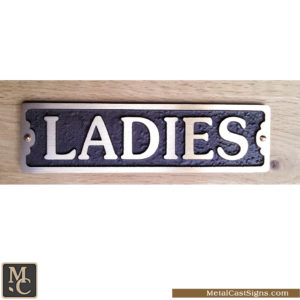 Ladies cast bronze elegant restroom sign - 7.5inch x 2inch