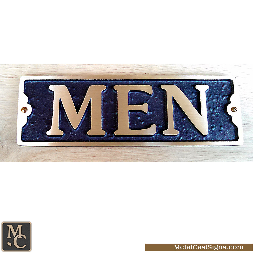 MEN cast bronze restroom sign - 7in