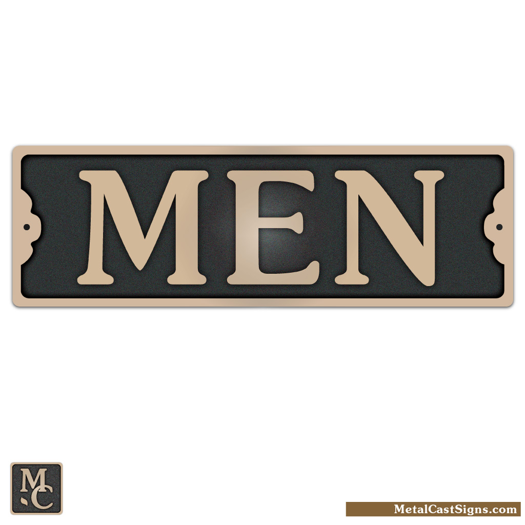 MEN bronze restroom sign - 7in