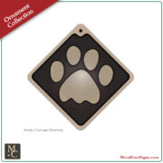 "Cat paw print ornament. 2"" x 2"" solid cast bronze."