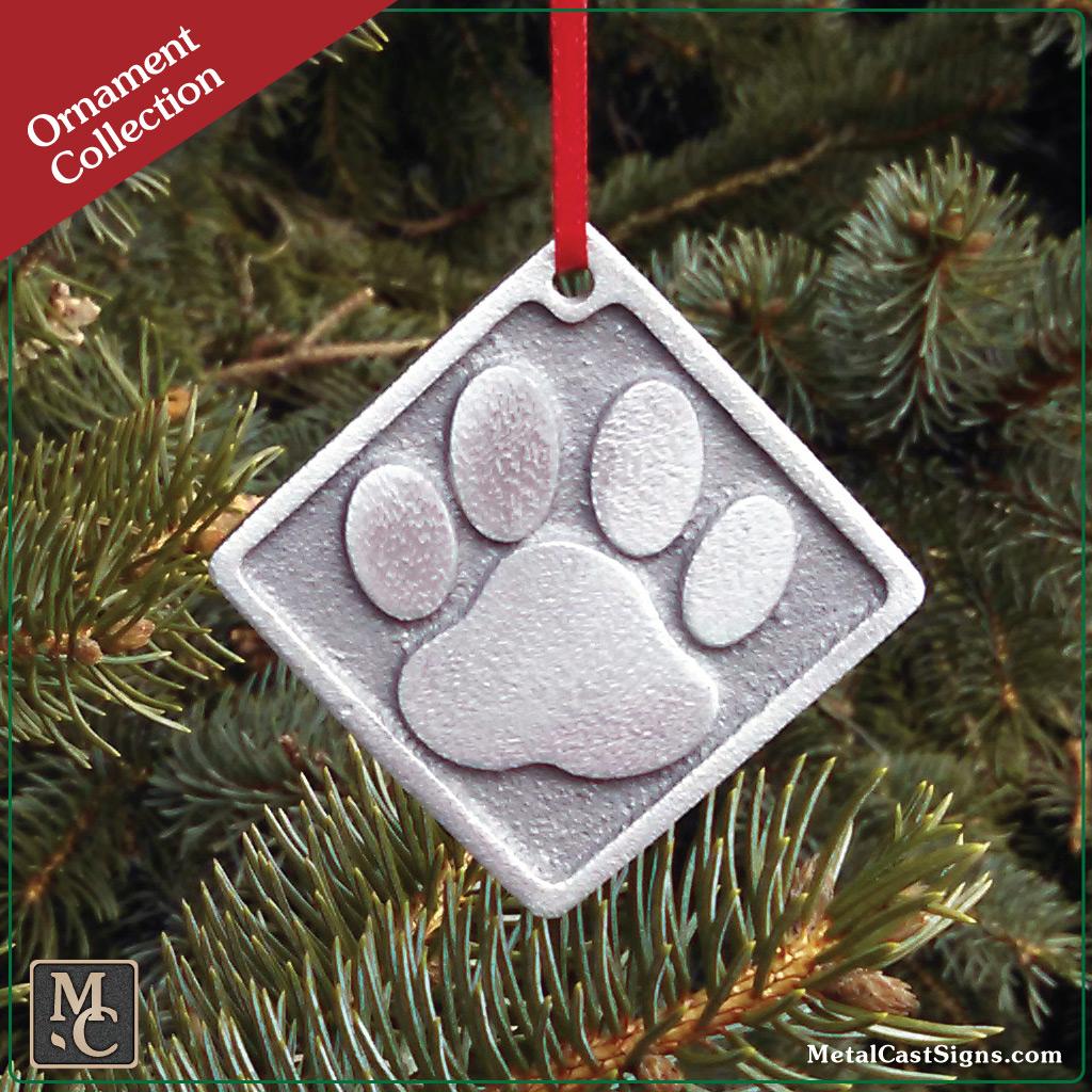 Dog Paw Print Ornament Pewter Look Cast Aluminum