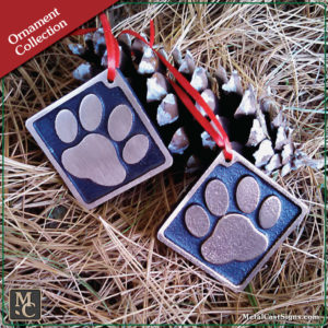 Dog Paw Print Christmas ornament - Cast bronze