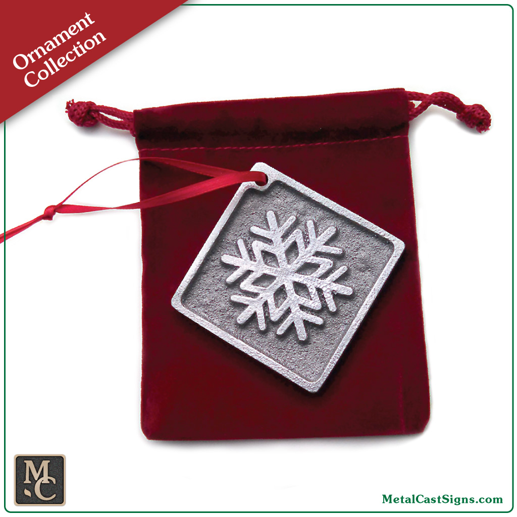 Snowflake Christmas/Holiday ornament - cast aluminum with pewter look
