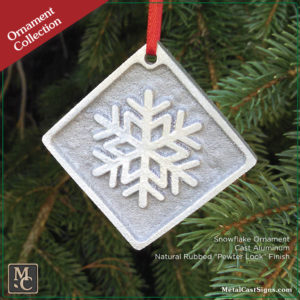 Ornament Snowflake - cast aluminum - pewter look