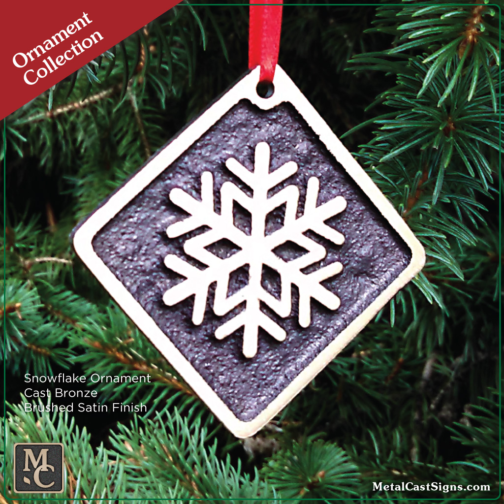 ornament Snowflake bronze brushed satin finish in tree