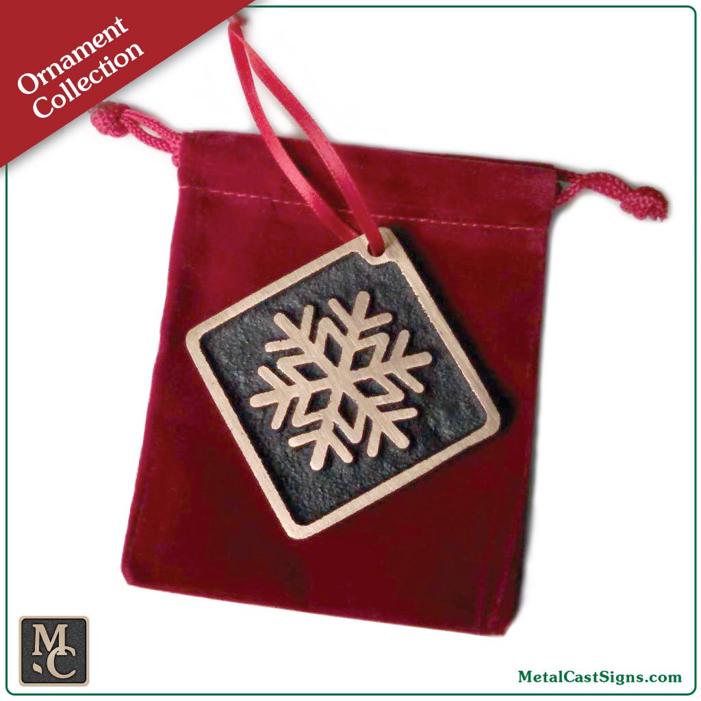 Snowflake Christmas/Holiday ornament - cast bronze with brushed satin finish