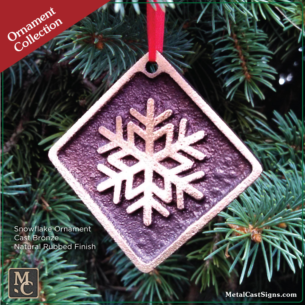 ornament Snowflake bronze natural rubbed finish in tree