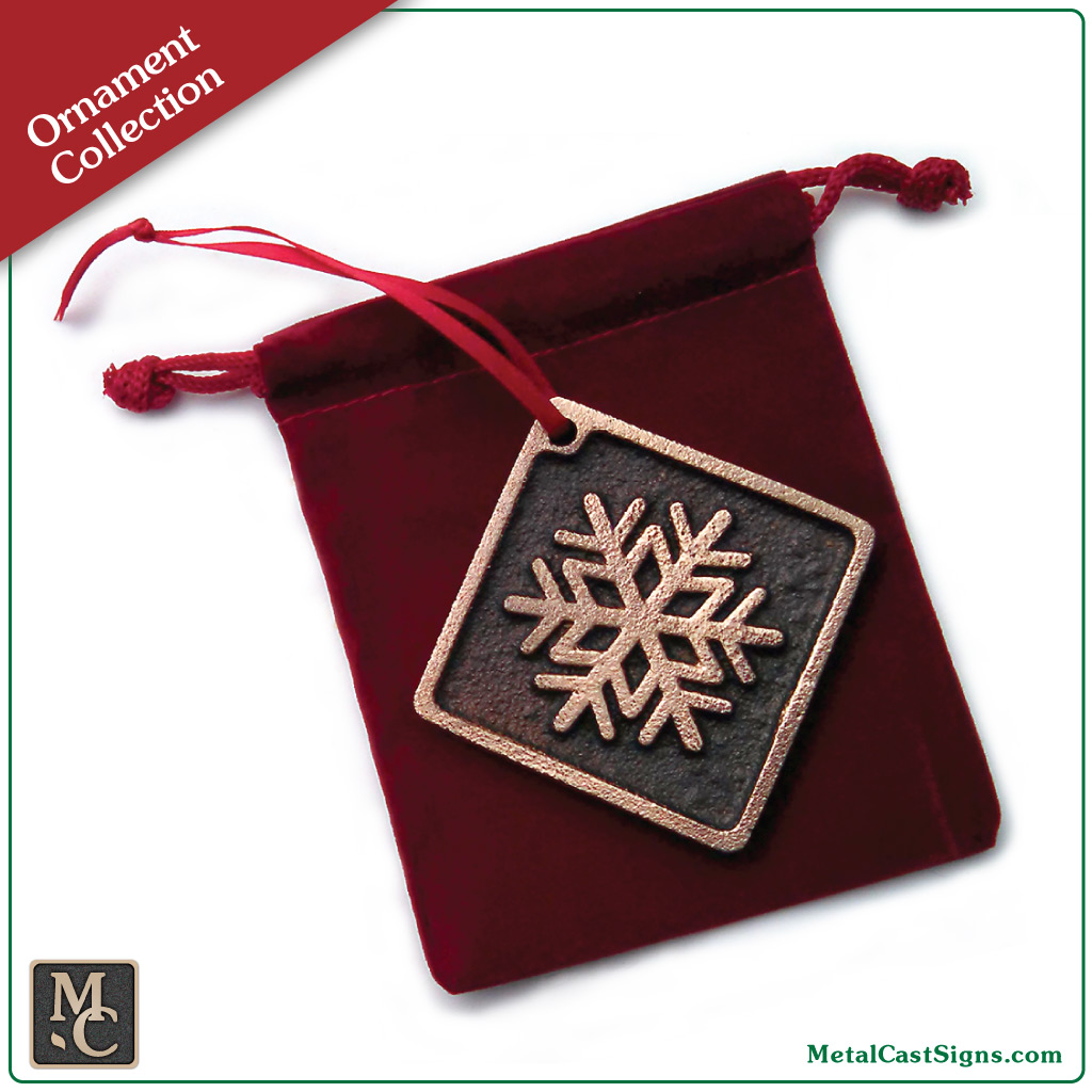 Snowflake Christmas/Holiday ornament - cast bronze with natural rubbed finish