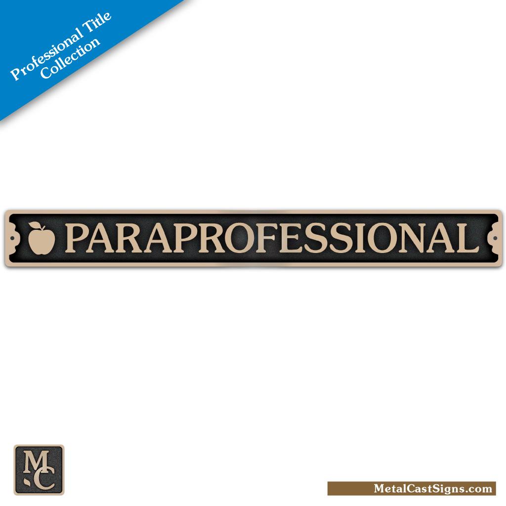 Paraprofessional-w/apple 11in bronze plaque / door sign