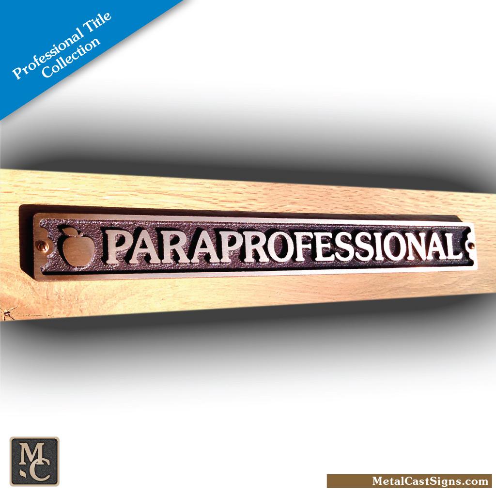 paraprofessional plaque sign w/apple
