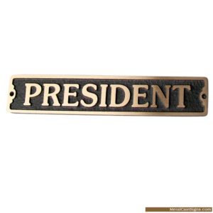 president solid cast bronze door sign