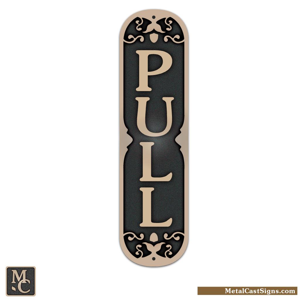 """PULL - cast bronze door sign - 2"""" wide x 7.5"""" tall"""