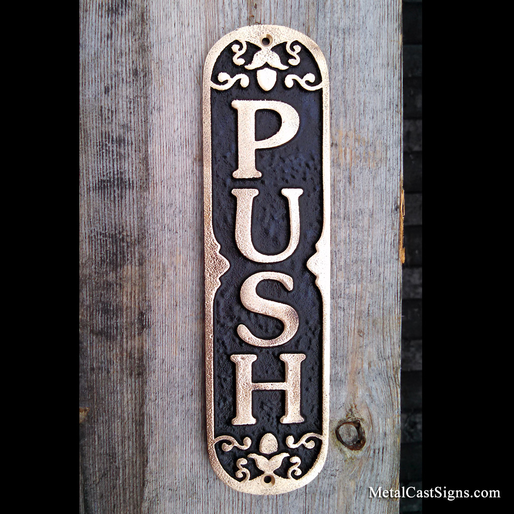 Ornate PUSH door sign - cast bronze