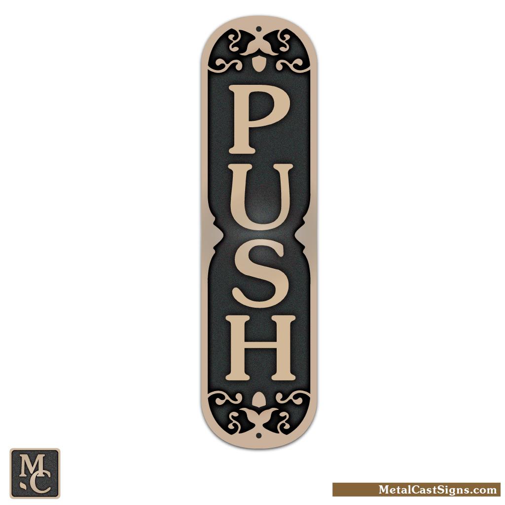 """PUSH - cast bronze door sign - 2"""" wide x 7.5"""" tall"""