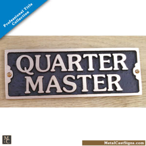Quartermaster bronze door sign - Nautical/Military