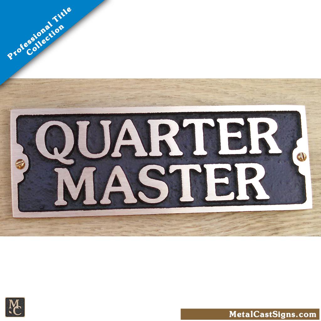 Quartermaster bronze door sign - Nautical/Military