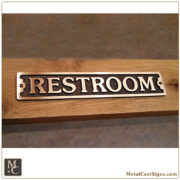 Restroom 8.25in cast bronze door sign