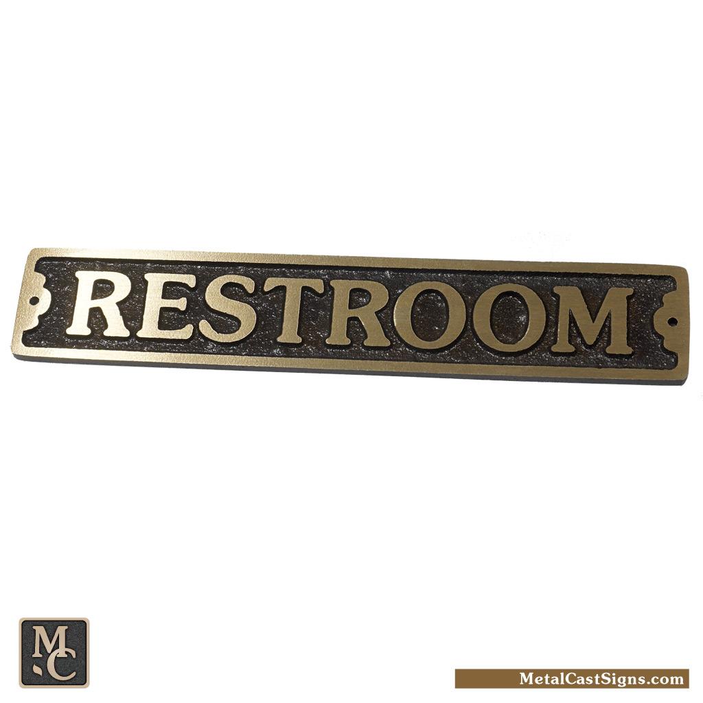 Restroom door sign bronze - 7inch