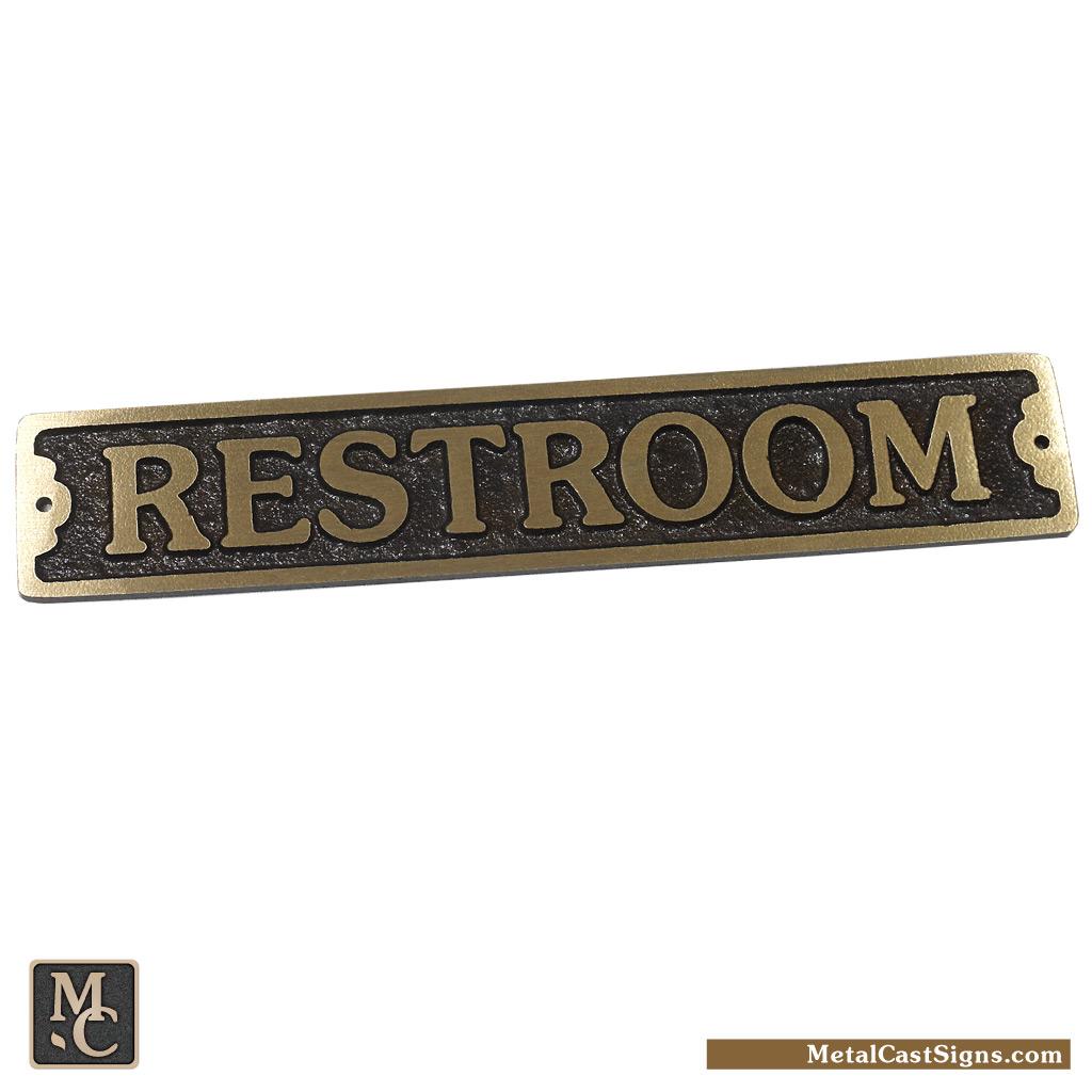 Restroom door sign - bronze