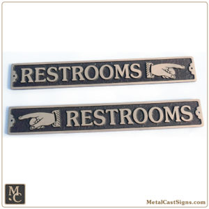 Restrooms w/left or right classic pointing hand - bronze sign - 12 in wide