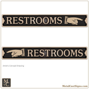 restrooms sign w/pointing hand 12in bronze