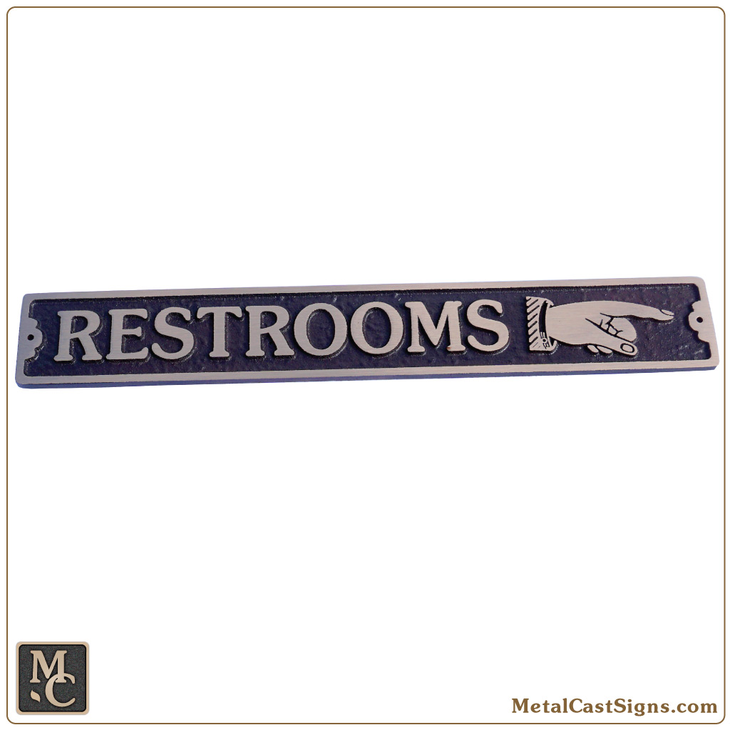 Restrooms w/right classic pointing hand - bronze sign - 12 in wide