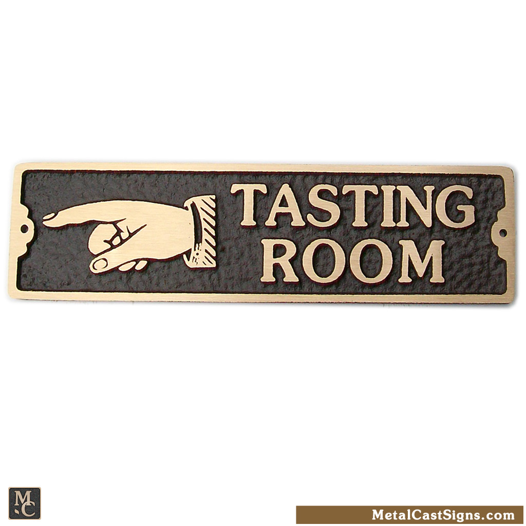 Tasting Room winery or brewery sign w/left point hand - cast bronze