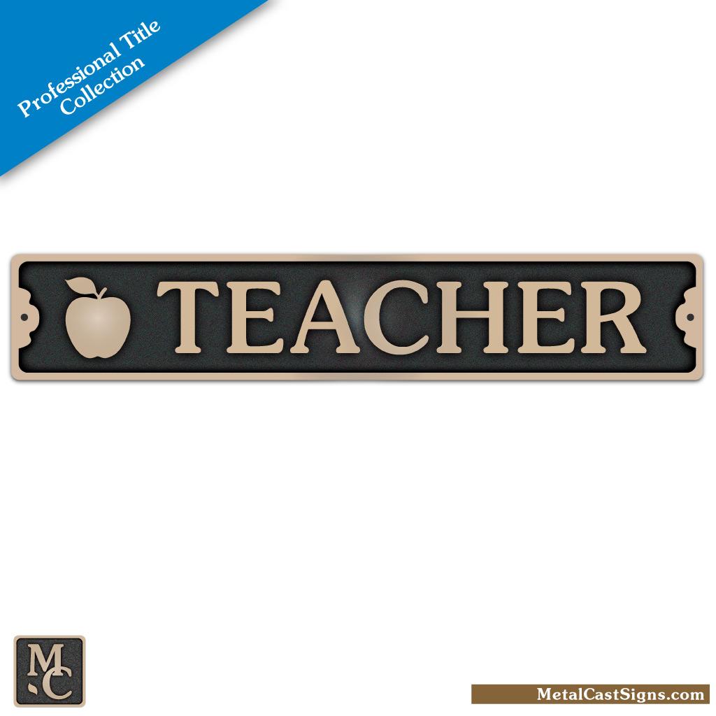 Teacher plaque w/apple - cast bronze sign 8.25 inch