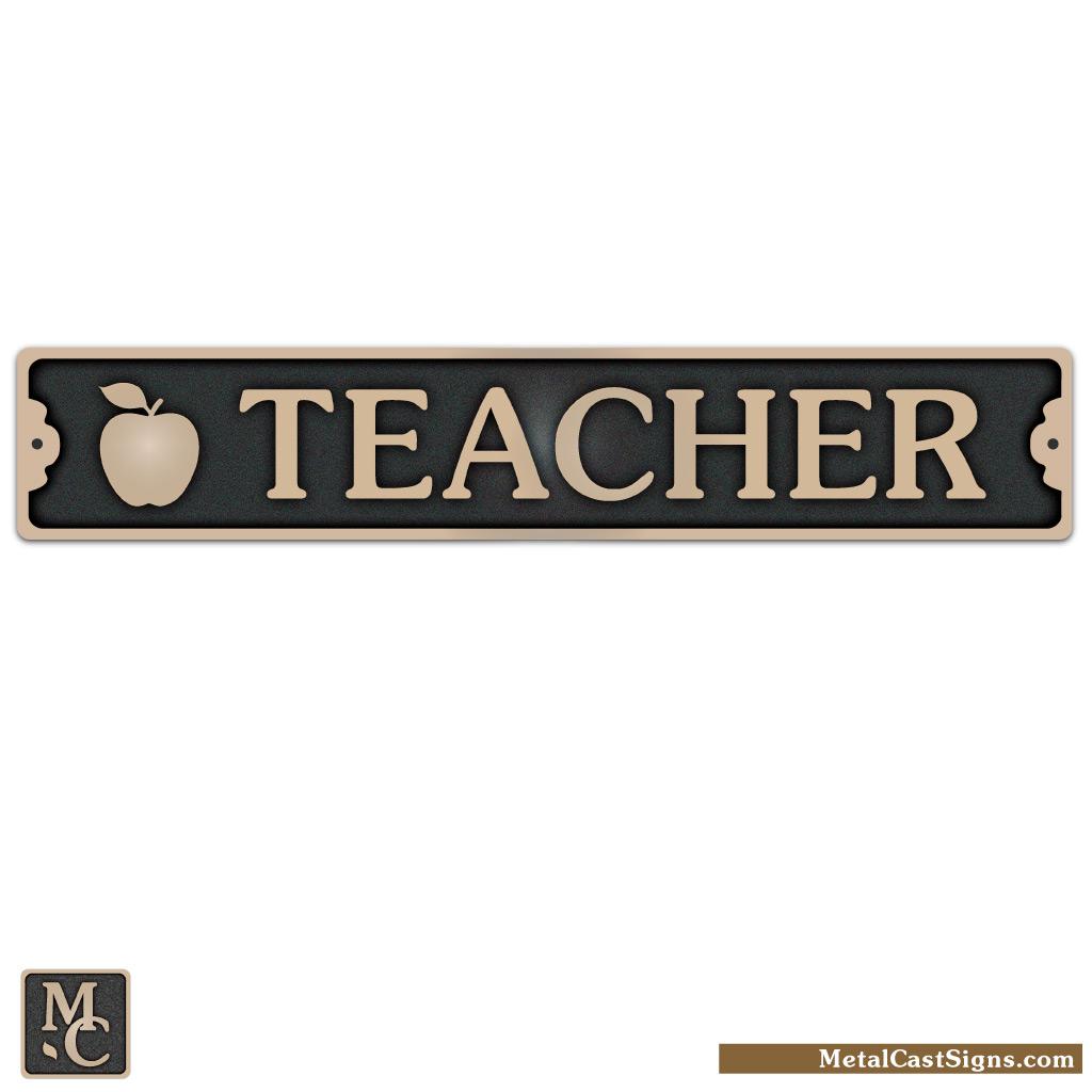 Teacher bronze sign w/apple 8.25inch