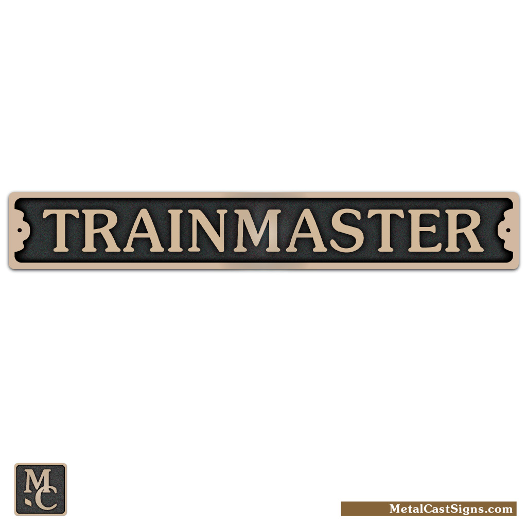 trainmaster solid cast bronze sign