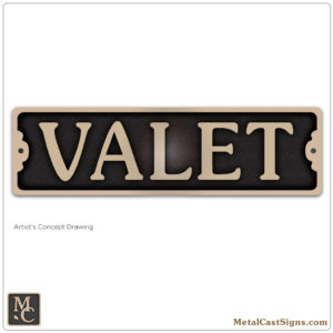 VALET - 7.5in cast bronze sign