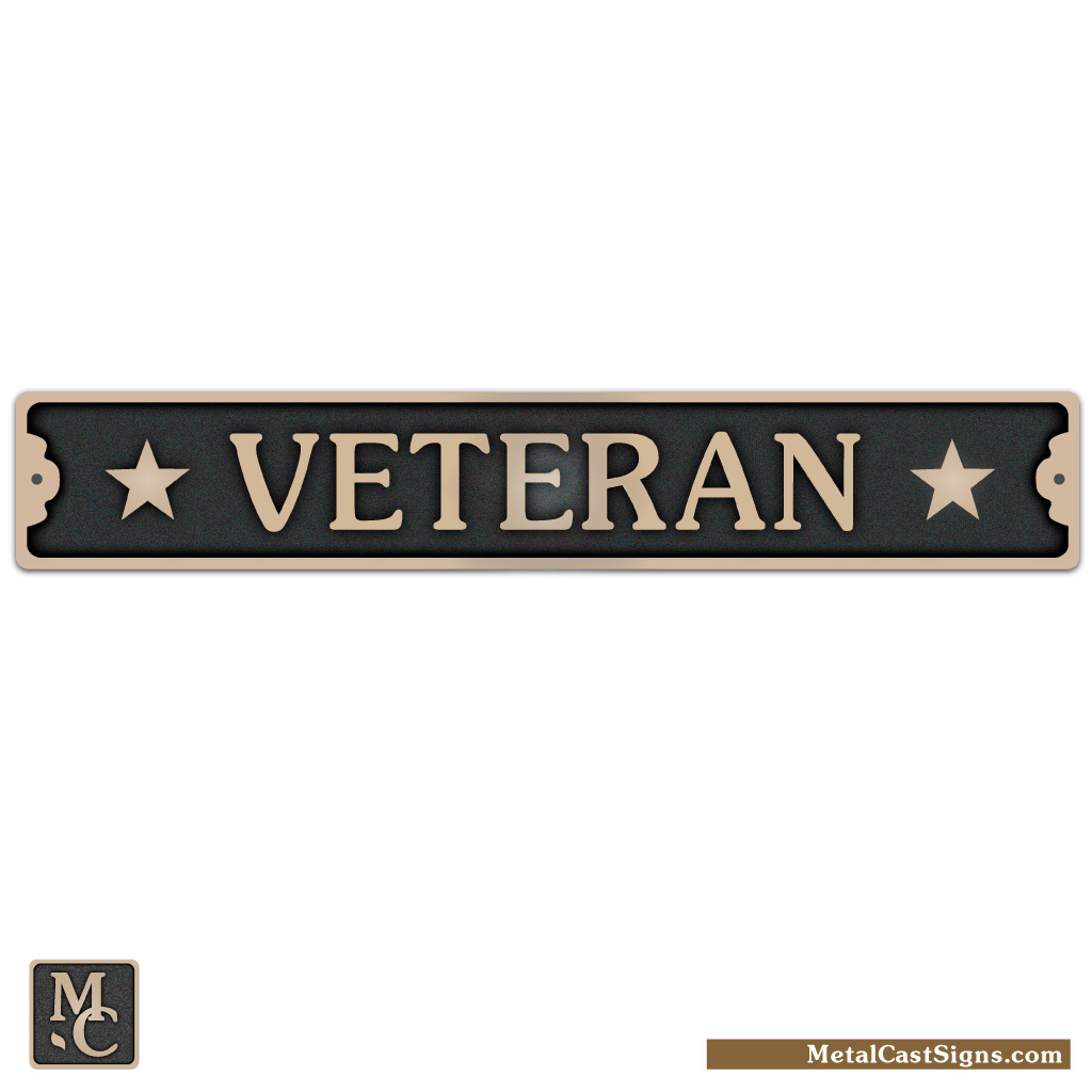 Veteran sign w/stars - cast bronze