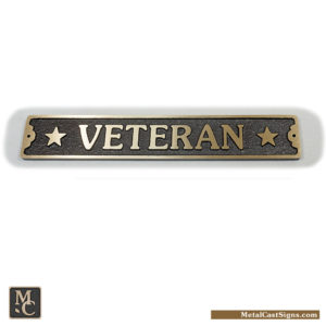 veteran bronze door sign w/stars