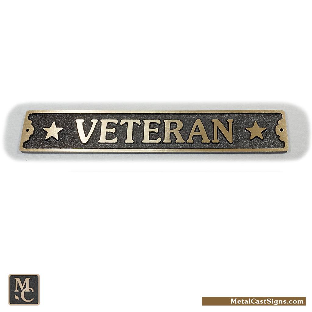 veteran bronze door sign w/stars